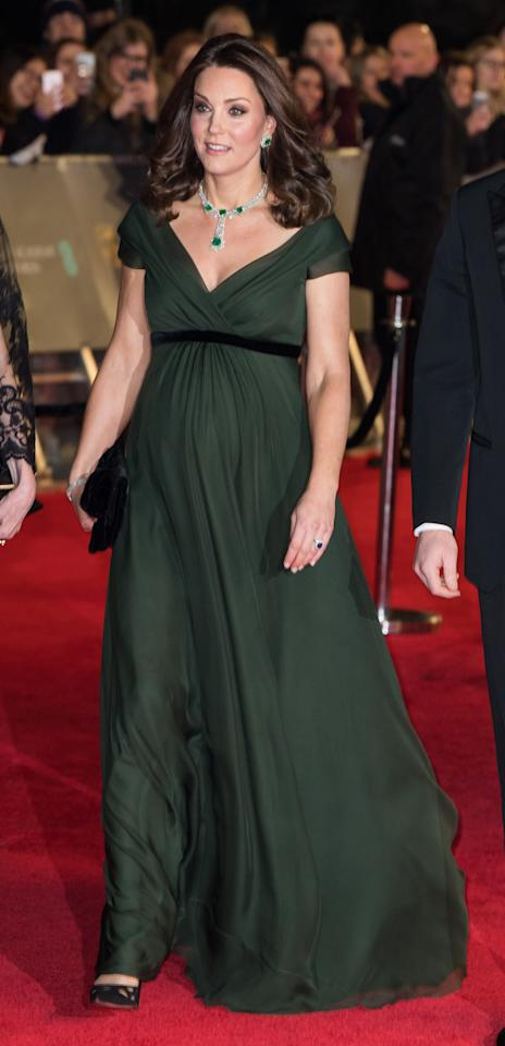 <p>For her second appearance at the BAFTAs, the Duchess of Cambridge ignored the all-black Time's Up memo (it's all down to royal protocol) and instead opted for a khaki-hued dress by Jenny Packham. <em>[Photo: Getty]</em> </p>