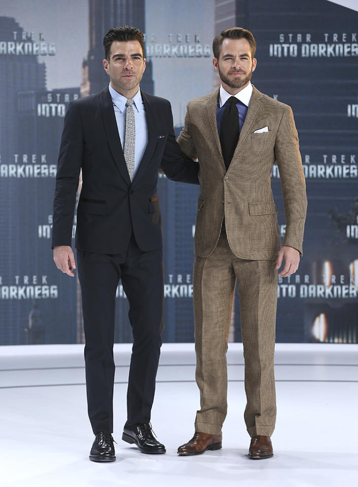 BERLIN, GERMANY - APRIL 29:  (L-R) Zachary Quinto and Chris Pine attend the 'Star Trek Into Darkness' Premiere at CineStar on April 29, 2013 in Berlin, Germany.  (Photo by Sean Gallup/Getty Images for Paramount Pictures)
