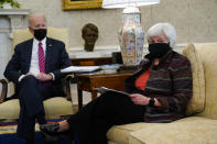 FILE - In this Jan. 29, 2021, file photo President Joe Biden meets with Treasury Secretary Janet Yellen in the Oval Office of the White House in Washington. (AP Photo/Evan Vucci, File)