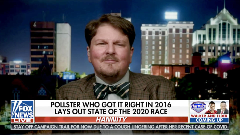 Robert Cahaly as seen on the Sean Hannity show on Fox News. (Fox News via YouTube)