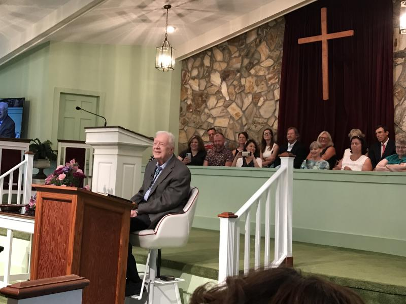 Former President Jimmy Carter teaches a Sunday School lesson prior to the main service at Maranatha Baptist Church in Plains, the small southwest Georgia town where he was born and raised, which he returned to after his father died in 1953, and then again after his presidency. (Photo: Jon Ward/Yahoo News)