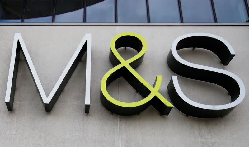 FILE PHOTO: A Marks and Spencer (M&S) logo is seen on the outside of a store in Cheshire