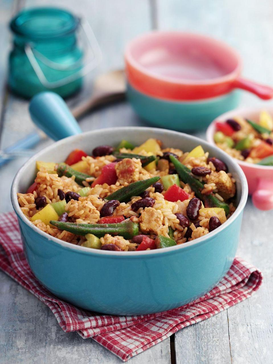 "<p>Make jambalaya by combining 3/4 cup cooked brown rice; 1/2 cup corn; 2 ounces cooked turkey sausage, sliced; 1/3 cup salsa; and 1/4 cup <a href=""https://www.goodhousekeeping.com/health/diet-nutrition/g5147/healthy-canned-foods/"" rel=""nofollow noopener"" target=""_blank"" data-ylk=""slk:no-salt-added black or navy beans"" class=""link rapid-noclick-resp"">no-salt-added black or navy beans</a>. Heat through. Eat with 3 cups spinach sautéed with garlic in 1 tablespoon olive oil.</p><p><strong>RELATED: <a href=""https://www.goodhousekeeping.com/health/diet-nutrition/g5147/healthy-canned-foods/"" rel=""nofollow noopener"" target=""_blank"" data-ylk=""slk:30 Healthy Canned Foods You Should Add to Your Pantry"" class=""link rapid-noclick-resp"">30 Healthy Canned Foods You Should Add to Your Pantry</a></strong></p>"