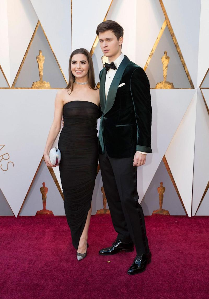 Ansel Elgort's girlfriend Violetta Komyshan also wore a see-through dress at the Academy Awards. Source: Getty