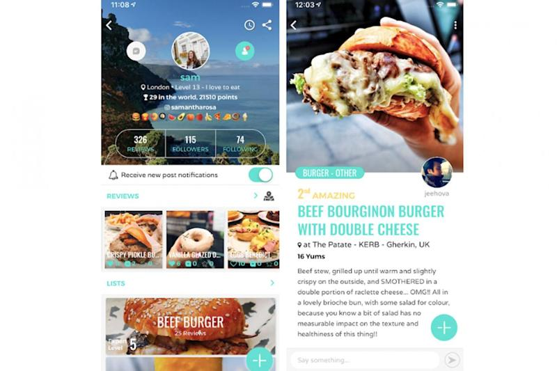 People live mini reviews of dishes and build up their profiles on the Eaten app (Eaten)