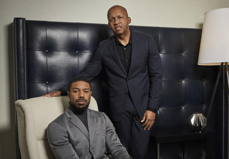 "This Dec. 16, 2019 photo shows actor Michael B. Jordan, left, and civil rights attorney Bryan Stevenson posing for a portrait in New York to promote the film ""Just Mercy.""  (Photo by Matt Licari/Invision/AP)"