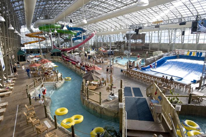 The Pump House Indoor Water Park at Jay Peak Resort is a humid oasis away from the cold ski conditions on Jay's mountains. The resort opened the water park to provide options for skiers and non-skiers.