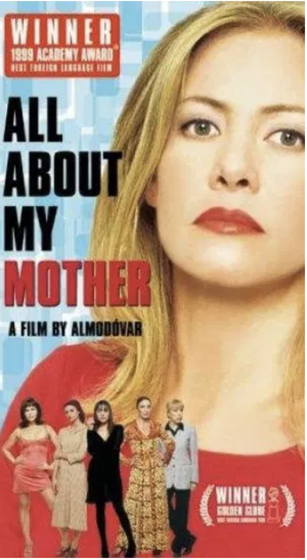 """<p>A film by the legendary Pedro Almodóvar, this one involves a pregnant nun, an aspiring writer, and a bereaved mother. It's a moving portrait of motherhood, family and enduring love.</p><p><a class=""""link rapid-noclick-resp"""" href=""""https://www.amazon.com/All-About-Mother-Marisa-Peredes/dp/B001OMQR3M?tag=syn-yahoo-20&ascsubtag=%5Bartid%7C10055.g.36107109%5Bsrc%7Cyahoo-us"""" rel=""""nofollow noopener"""" target=""""_blank"""" data-ylk=""""slk:WATCH NOW"""">WATCH NOW</a></p>"""