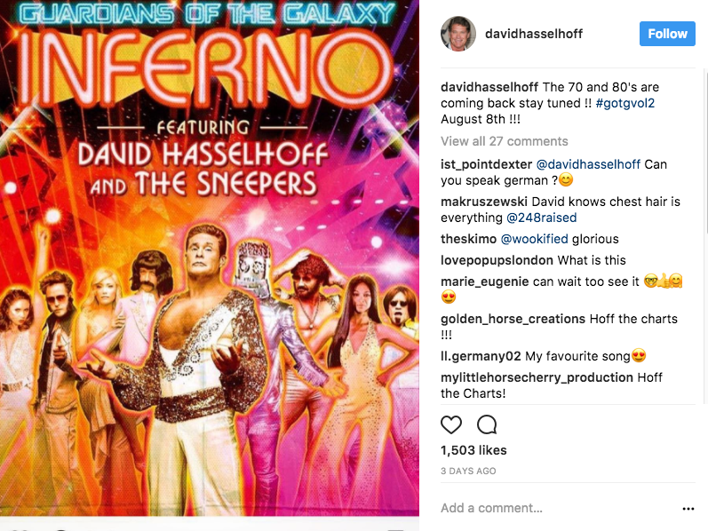 The Hoff never fail's to nail weird and wonderful. Source: Instagram