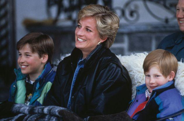 Princess Diana with her sons Prince William (left) and Prince Harry on a skiing holiday in Lech, Austria, on March 30, 1993. (Photo: Princess Diana Archive via Getty Images)