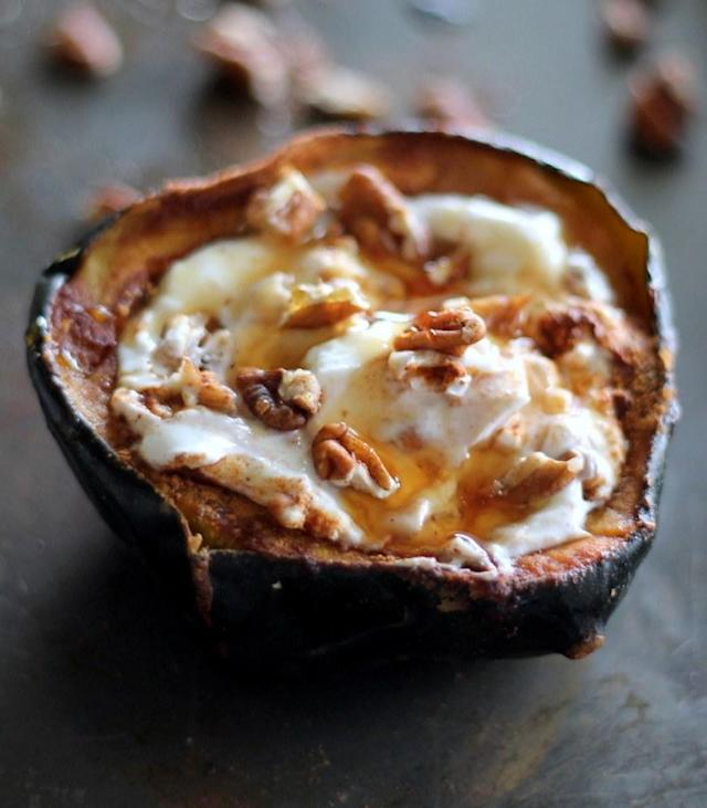 """<p>Chances are, you've eaten yogurt for breakfast before, but not like this. You may have to wait for it to be in season, but it's worth it: Acorn squash adds a sweet and savory element, and it also makes this breakfast seem really, really fancy. Get the recipe <a href=""""http://www.ambitiouskitchen.com/2014/10/breakfast-baked-acorn-squash-greek-yogurt-honey-pecans?mbid=synd_yahoofood"""" rel=""""nofollow noopener"""" target=""""_blank"""" data-ylk=""""slk:here"""" class=""""link rapid-noclick-resp"""">here</a>.</p>"""