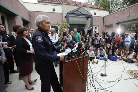South Pasadena Chief of Police Arthur Miller speaks at a news conference held to discuss the arrests of two South Pasadena High School students suspected of plotting to kill teachers and students on campus, in South Pasadena, California August 19, 2014. REUTERS/Lucy Nicholson