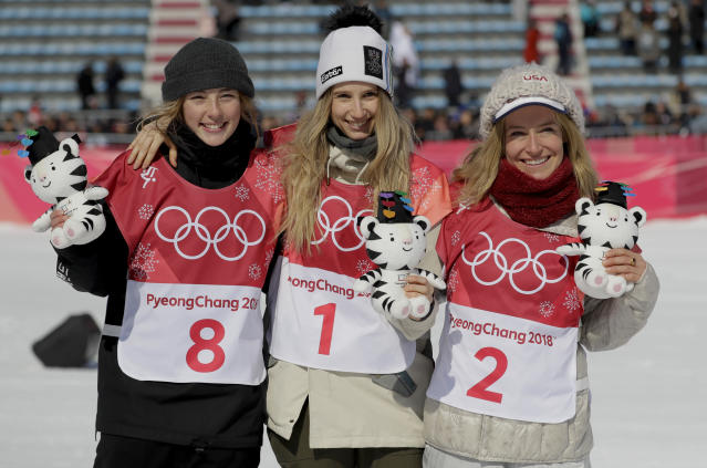 Austria's Anna Gasser, America's Jamie Anderson and New Zealand's Zoi Sadowski Synnott celebrate their medals in ladies' big air at the 2018 Winter Olympics in PyeongChang, South Korea. (AP)