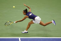 Leylah Fernandez, of Canada, returns a shot to Aryna Sabalenka,of Belarus, during the semifinals of the US Open tennis championships, Thursday, Sept. 9, 2021, in New York. (AP Photo/Frank Franklin II)