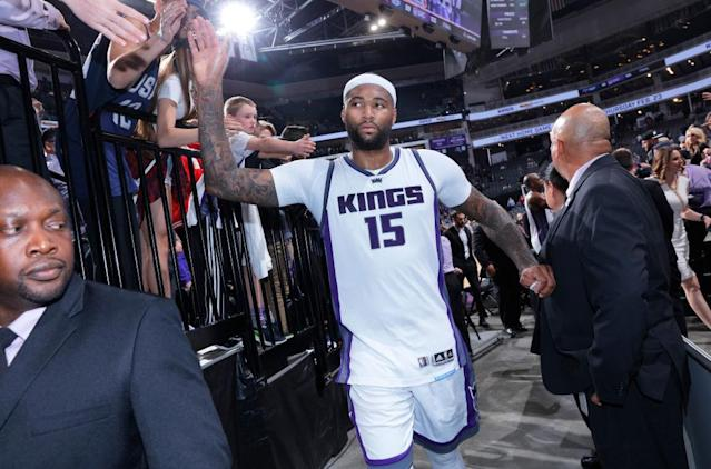 "<a class=""link rapid-noclick-resp"" href=""/nba/players/4720/"" data-ylk=""slk:DeMarcus Cousins"">DeMarcus Cousins</a> greets Kings fans after beating the Pelicans on Feb. 12, 2017 at Golden 1 Center in Sacramento. (Rocky Widner/NBAE/Getty Images)"