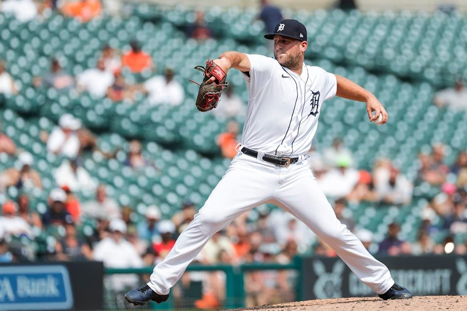 Tigers pitcher Ian Krol throws during the seventh inning of the Tigers' 8-1 win over the Red Sox at Comerica Park on Thursday, Aug. 5, 2021.
