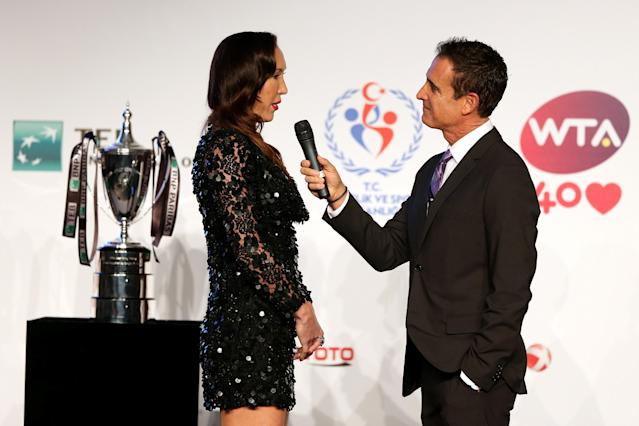 ISTANBUL, TURKEY - OCTOBER 20: Jelena Jankovic of Serbia is interviewed by Master of Ceremonies Andrew Krasny during the draw ceremony for the WTA Championships at the Renaissance Polat Hotel on October 20, 2013 in Istanbul, Turkey. (Photo by Matthew Stockman/Getty Images)