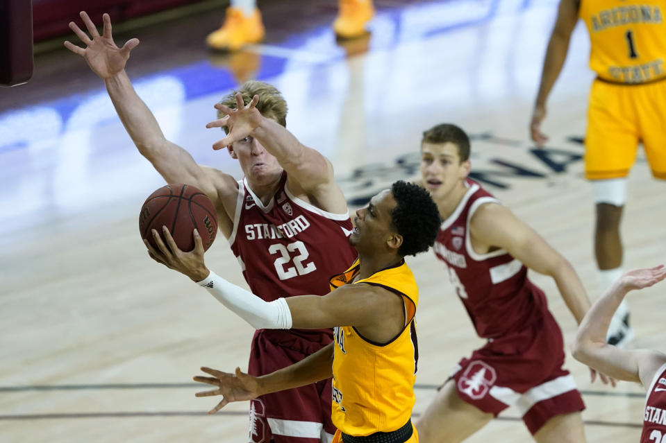 Arizona State guard Alonzo Verge Jr. shoots as Stanford forward James Keefe (22) defends during the first half of an NCAA college basketball game Saturday, Jan. 30, 2021, in Tempe, Ariz. (AP Photo/Matt York)