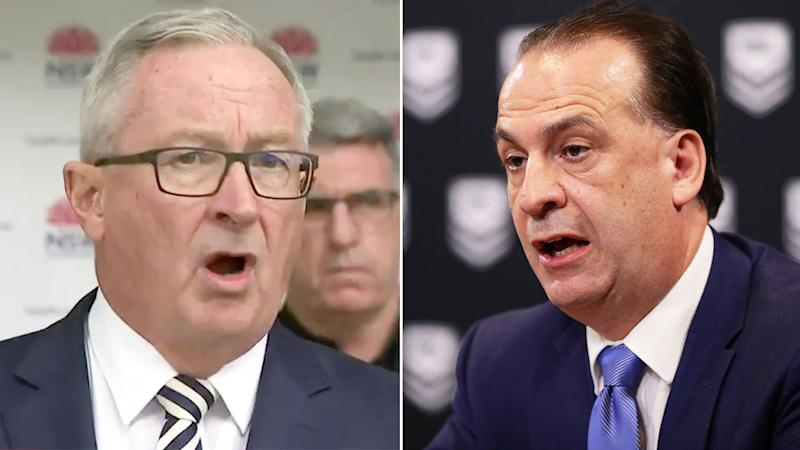 NSW Health Minister says the last time he spoke to the NRL about its plans for the season was weeks ago. Pic: Ch9/Getty