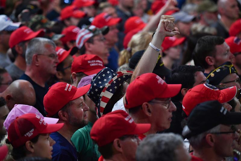 Supporters of US President Donald Trump cheer during a