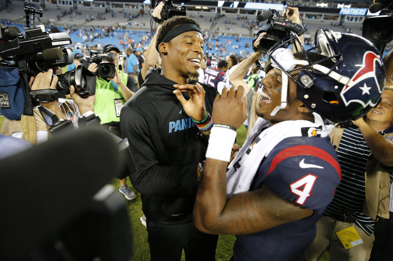 Carolina QB Cam Newton had some words of encouragement for rookie Deshaun Watson. (AP)