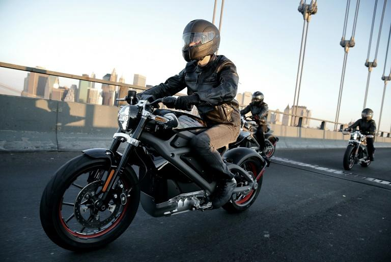 Harley-Davidson's LiveWire is pictured during its debut in June 2014 in New York