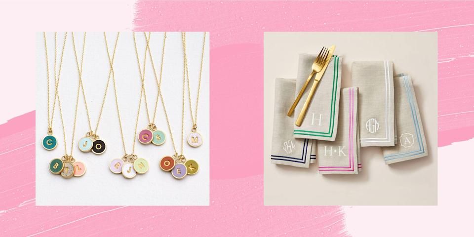 """<p>When it comes to personalizing home decor, accessories, and clothing, Reese Witherspoon said it best, """"If it's not moving, monogram it!"""" So with that rule in mind, we present to you the ultimate monogram gift guide for Christmas 2020. We've picked out the prettiest <a href=""""https://www.countryliving.com/shopping/gifts/g33600197/christmas-gifts-for-her/"""" rel=""""nofollow noopener"""" target=""""_blank"""" data-ylk=""""slk:Christmas gifts for her"""" class=""""link rapid-noclick-resp"""">Christmas gifts for her</a>, like monogrammed mint julep cups, linen table napkins, and dainty necklaces. But monogrammed gifts aren't just for Southern ladies! Dads and husbands will love these <a href=""""https://www.countryliving.com/shopping/gifts/g29314028/best-personalized-gifts/"""" rel=""""nofollow noopener"""" target=""""_blank"""" data-ylk=""""slk:personalized gift ideas"""" class=""""link rapid-noclick-resp"""">personalized gift ideas</a>, like a monogram steak brand and carving board or a pair of monogram leather cufflinks. <br></p><p>Monograms make even the simplest of gifts feel a little more special. Colorful stemless wine glasses stamped with a monogram or a block-lettered leather jewelry case make great <a href=""""https://www.countryliving.com/shopping/gifts/news/g4859/best-friend-gifts/"""" rel=""""nofollow noopener"""" target=""""_blank"""" data-ylk=""""slk:best friend gifts"""" class=""""link rapid-noclick-resp"""">best friend gifts</a>. While a set of monogram acrylic coasters or an engraved marble and wood cheese board is the perfect present if you're looking for <a href=""""https://www.countryliving.com/shopping/gifts/g1340/hostess-gift-ideas/"""" rel=""""nofollow noopener"""" target=""""_blank"""" data-ylk=""""slk:hostess gift ideas"""" class=""""link rapid-noclick-resp"""">hostess gift ideas</a>. Click through the gallery to shop for everyone on your list this year. With the perfect monogrammed present, they'll easily be able to add a touch of personalization to any room in their house -- from monogram soap and hand towels in the powder room, to aprons and oven mitts """