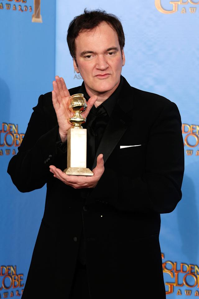 Writer-director Quentin Tarantino poses in the press room at the 70th Annual Golden Globe Awards held at The Beverly Hilton Hotel on January 13, 2013 in Beverly Hills, California.  (Photo by Jeff Vespa/WireImage)