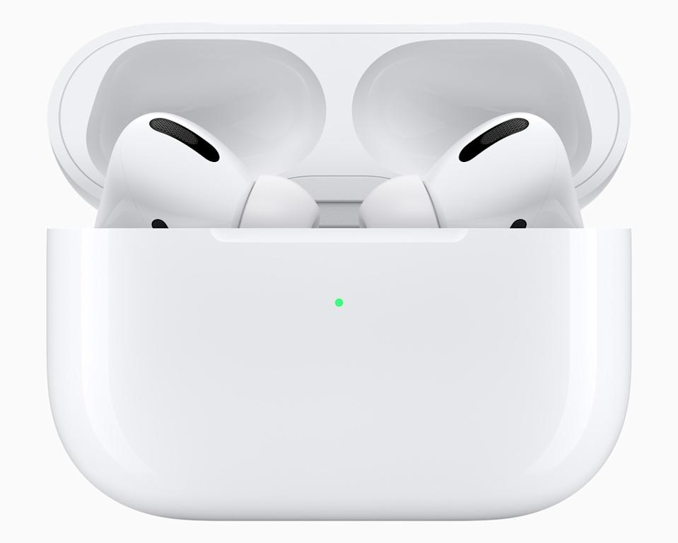 Apple's AirPods Pros are both sweat and water resistant, making them great for listening while laying out in the sun. (Image: Apple)