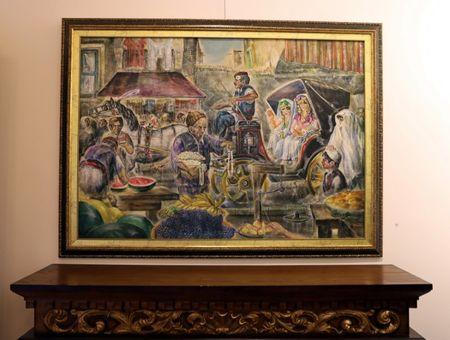 A painting is seen at the art gallery and cultural centre in the old city of Tripoli, Libya April 23,2019. Picture taken April 23, 2019. REUTERS/Ahmed Jadallah