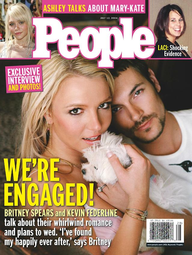 Britney and Kevin became engaged in the air — then shared the deets with <em>People</em> magazine. (Photo: People magazine via Splash News)