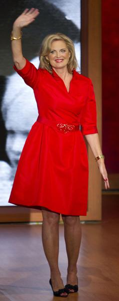 <b>Ann Romney at the Republican National Convention in Tampa, Florida</b><br><br>Meanwhile, Mitt's wife earned serious fashion points in this red wrap dress and black kitten heels. We love the matching red lips.