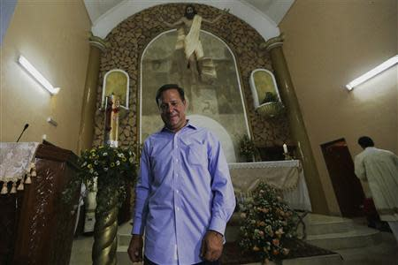 Varela of the Panamenista Party is seen after a speech inside the Virgin of Carmen church in Panama City