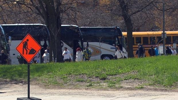 Several buses full of protesters arrived in Montreal on May 1 as people gathered to protest Quebec's public health measures.