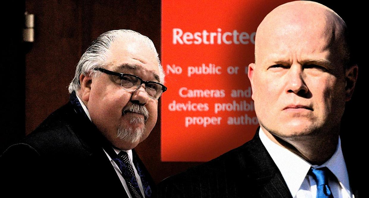Sam Clovis, left, and acting U.S. Attorney General Matthew Whitaker. (Photo illustration: Yahoo News; photos: Win McNamee/Getty Images, AP)