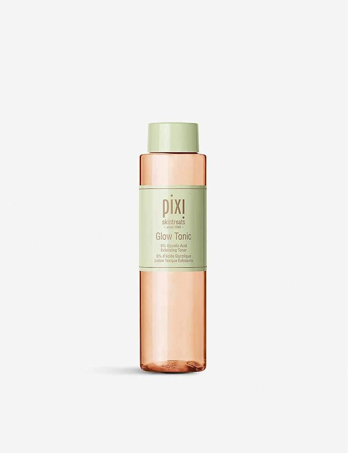 """<h3>Pixi Glow Tonic</h3><br><strong>Mia</strong><br><br>""""I was already familiar with Pixi products and had always heard great things about the brand's Glow Tonic, but after digging DEEP into the Amazon reviews on this gem I was completely sold. It arrived so quickly and after using it for just a few days (morning and night after cleansing) I noticed a huge difference in my skin. My pores were much smaller and the bothersome sebum bumps on my chin area were nearly nonexistent after a week. And the spots where I had previously picked at blemishes were noticeably brighter. Will definitely be ordering more of this magic potion.""""<br><br><strong>Pixi</strong> Glow Tonic with Aloe Vera & Ginseng, 8 oz, $, available at <a href=""""https://amzn.to/3eAH7j8"""" rel=""""nofollow noopener"""" target=""""_blank"""" data-ylk=""""slk:Amazon"""" class=""""link rapid-noclick-resp"""">Amazon</a>"""