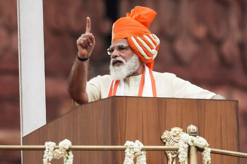 FILE PHOTO: Indian Prime Minister Narendra Modi addresses the nation during Independence Day celebrations in New Delhi
