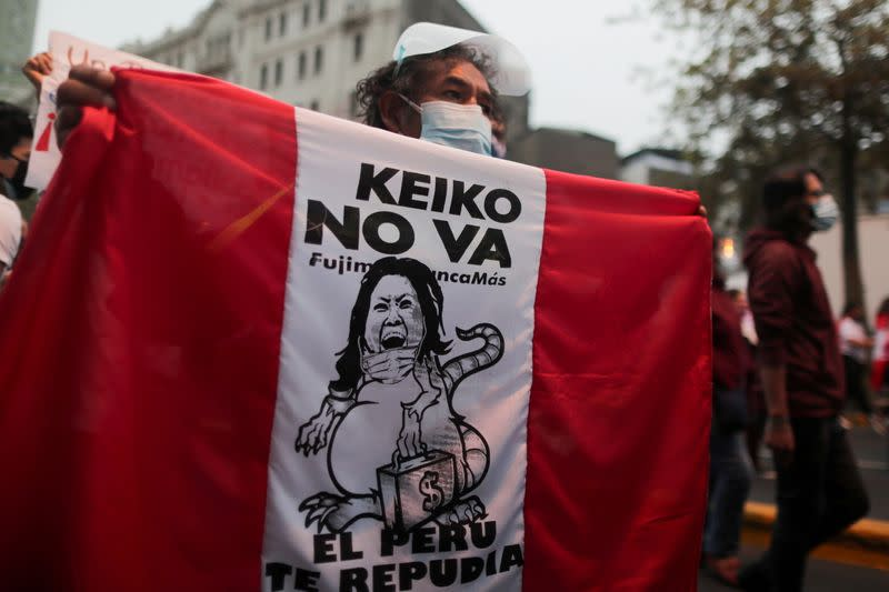 FILE PHOTO: Protest against Peru's right-wing presidential candidate Keiko Fujimori in Lima