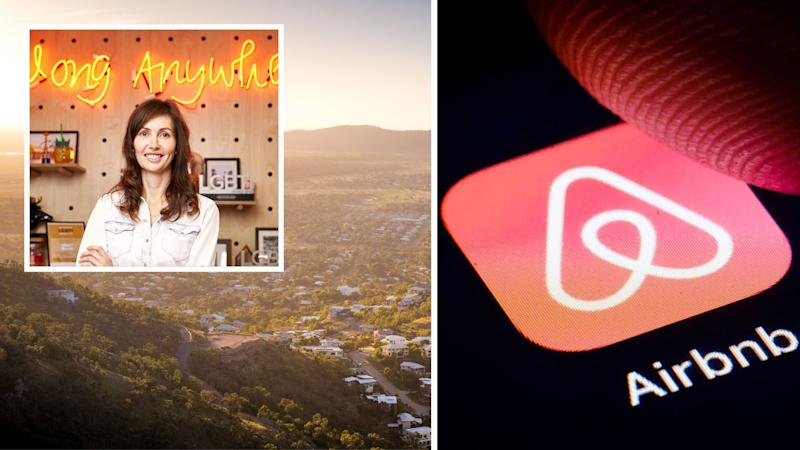 Airbnb Australia country manager Susan Wheeldon, Australian houses aerial view, Airbnb logo on phone. Images: Getty, Airbnb.