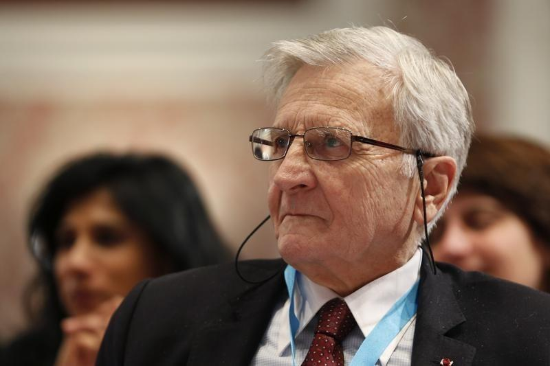 Former European Central Bank President Jean-Claude Trichet attends a conference of central bankers hosted by the Bank of France in Paris