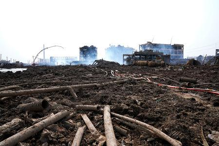 Damaged buildings are seen after explosion at a pesticide plant owned by Tianjiayi Chemical, in Xiangshui county