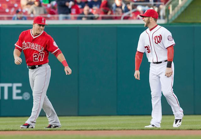 A Phillies outfield with Mike Trout and Bryce Harper would go down in baseball lore. (AP Photo/Pablo Martinez Monsivais)