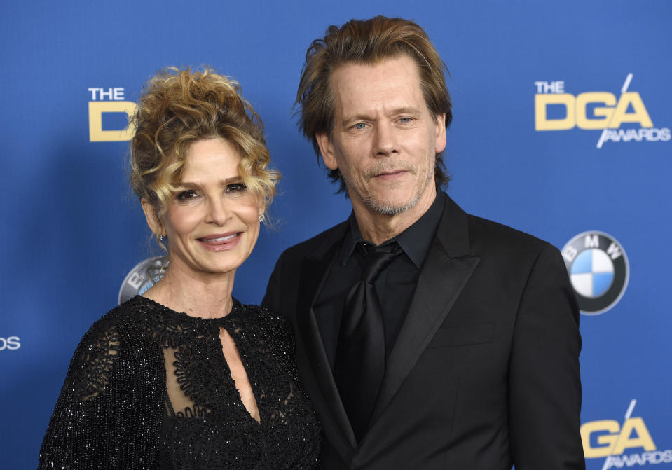 Kyra Sedgwick, left, and Kevin Bacon arrive at the 70th annual Directors Guild of America Awards at The Beverly Hilton hotel on Saturday, Feb. 3, 2018, in Beverly Hills, Calif. (Photo by Chris Pizzello/Invision/AP)