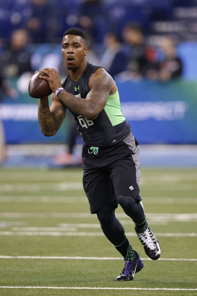 NFL player Trevone Boykin was cut from the Seattle Seahawks for allegedly breaking his girlfriend's jaw. (Photo: Getty Images)