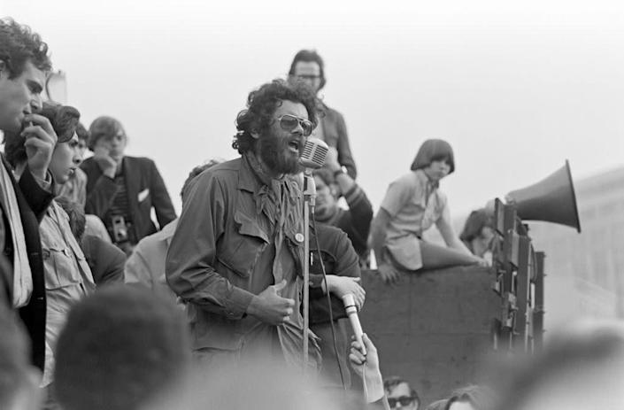 """Third World Liberation Front spokesperson Roger Alvarado speaks at a rally in support of a San Francisco State College (later San Francisco State University) students strike near San Francisco City Hall, late 1968. <span class=""""copyright"""">Getty Images</span>"""