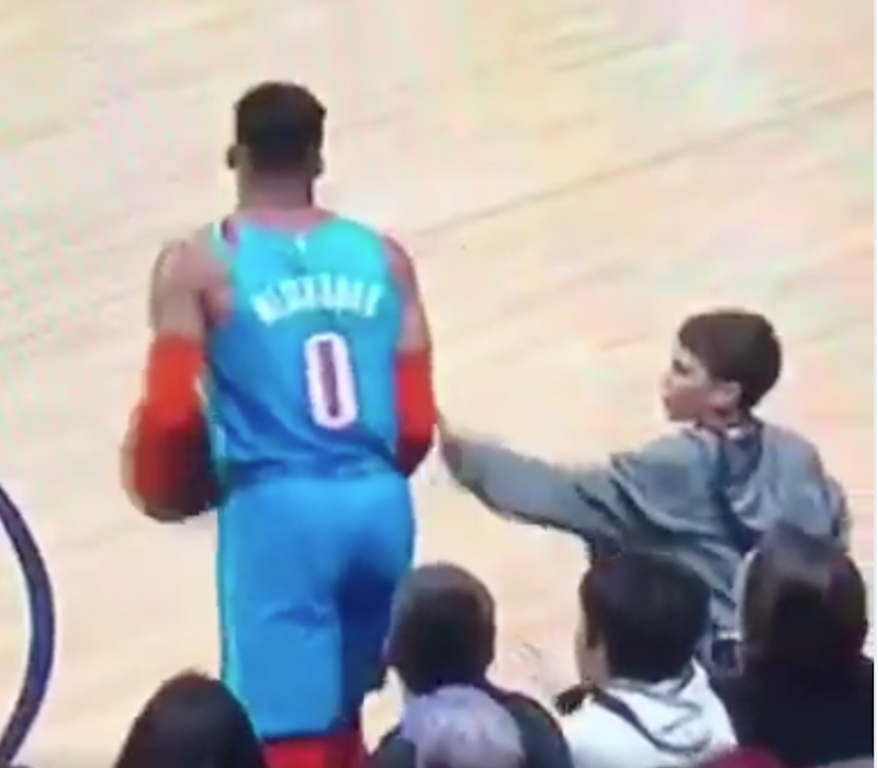 Russell Westbrook Lectures Young Fan Who 'Hit' Him On Sidelines