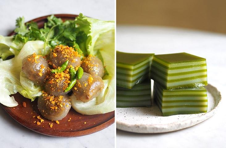 Get these delicious 'saku sai moo' with their unusual meat filling and topped with fried garlic bits (left). The 'khanom chan' or pandan layered cake has a full on fragrance of the pandan leaves (right)