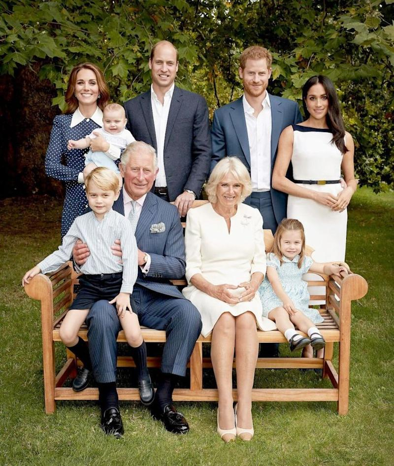 Kate Middleton, Prince Louis, Prince William, Prince Harry, Meghan Markle, Princess Charlotte, Camila, Duchess of Cornwall, Prince Charles and Prince George