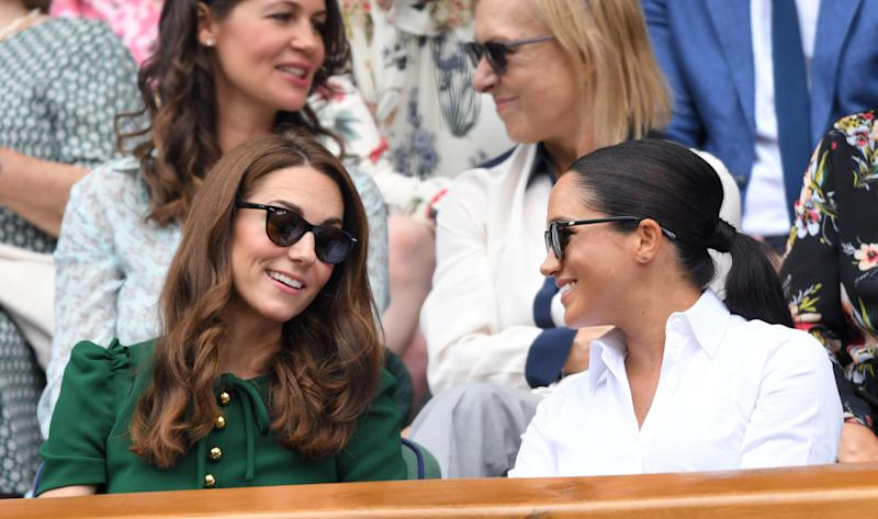 Middleton wearing her Ray-Ban polarized Wayfarers at Wimbledon with Meghan, Duchess of Sussex. (Photo by Karwai Tang/Getty Images)