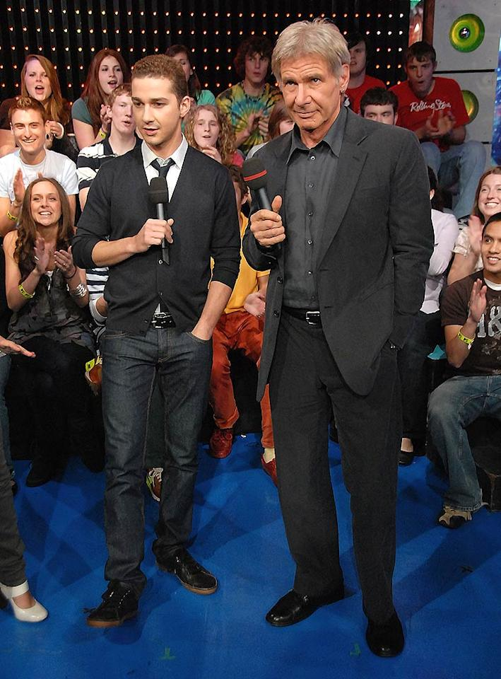 "Shia LaBeouf and Harrison Ford pop by the MTV studios in NYC to promote ""Indiana Jones and the Kingdom of the Crystal Skull"" on ""TRL."" Theo Wargo/<a href=""http://www.wireimage.com"" target=""new"">WireImage.com</a> - May 20, 2008"